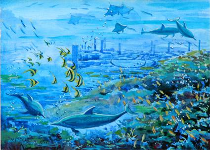 西安海洋館冊子手繪插圖