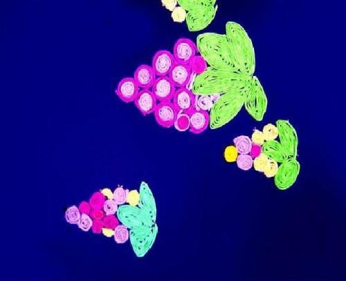 儿童创意美术教案 皱纹纸装饰画--《葡萄》教程