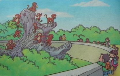 猴子挠痒痒简笔画-看图写话,公园里有猴子,大象狮子长颈鹿还有许