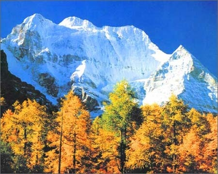 蓝天白云,冰川衬森林,碧湖映雪山,风景绝伦.