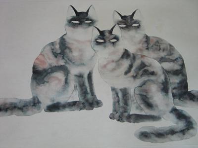 石头画写实猫步骤