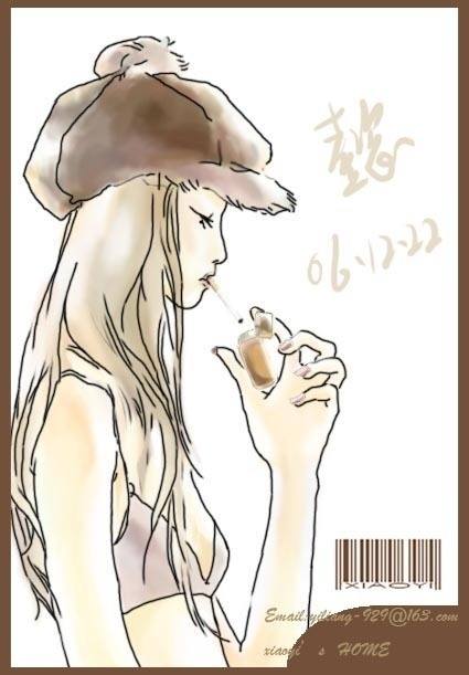 女生动漫手绘抽烟