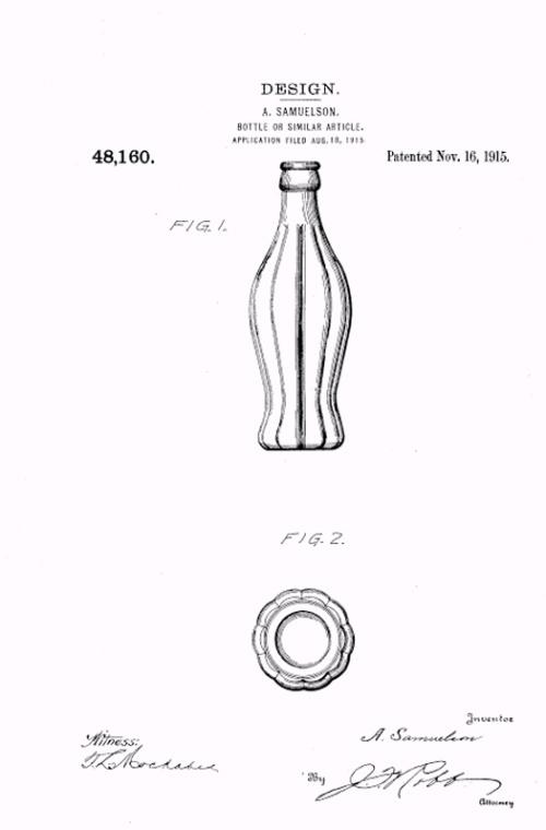 可口可乐第一个瓶子的设计图