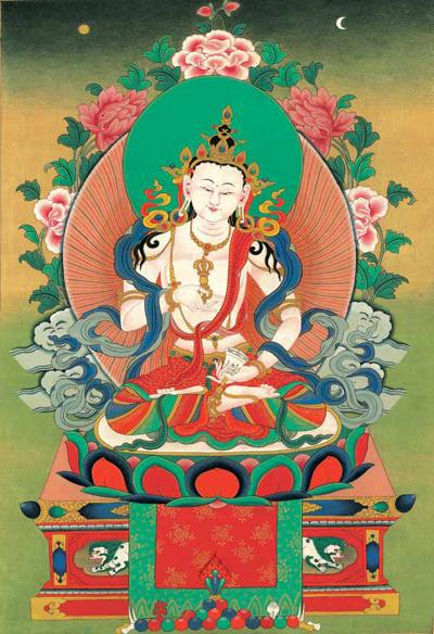 西藏寺院里的大多数唐卡应属布绘唐卡