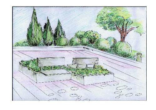 手绘花池效果图