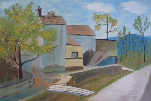 水彩纸上的水粉画--山村小景